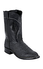 Larry Mahan® Mens Black Elephant Exotic Roper Boots