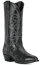 Larry Mahan Men's Black Full Quill Ostrich R-Toe Exotic Western Boots