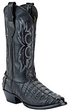 Larry Mahan Men's Black R-Toe Gator Tail Exotic Western Boots