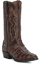 Larry Mahan Men's Kango Tobacco R-Toe Gator Tail Exotic Western Boots