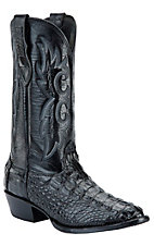 Larry Mahan Men's Black R-Toe Hornback Gator Exotic Western Boots