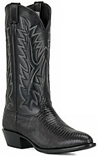 Larry Mahan Men's Black R-Toe Lizard Exotic Western Boots