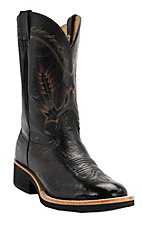 Larry Mahan Men's Black Smooth Ostrich Exotic Round Toe Double Welt Crepe Sole Western Boots