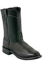 Larry Mahan® Mens Black Smooth Ostrich Exotic Roper Boots