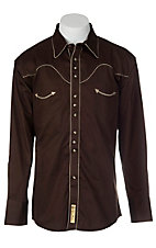 Larry Mahan® L/S Chocolate & Khaki Retro Shirt  LMX7770403