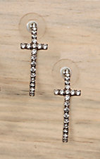 Silver with Charcoal Crystals Cross Hoop Earrings