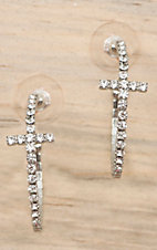 Cindy Smith® Silver with Clear Crystals Cross Hoop Earrings