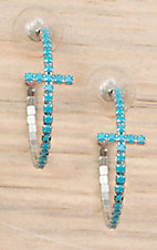 Cindy Smith® Silver with Turquoise Stones Cross Hoop Earrings