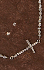 Cindy Smith Co® Silver Side Cross Beaded Necklace & Earring Set LN0181