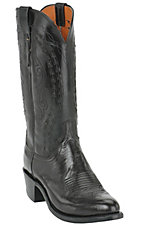 Lucchese® 1883™ Men's Black Buffalo Calf R-Toe Western Boot