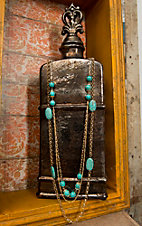 Pannee® Gold with Turquoise Beads Multi Strand Long Necklace