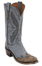 Lucchese® 1883 Ladies Destroyed Denim Blue w/ Brown Wingtip Goat Snip Toe Western Boots