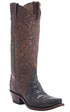 Lucchese® 1883 Women's Chocolate Ultra Caiman Belly w/ Floral Embrossed Top Triad Snip Toe Western Boots