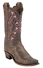Lucchese® 1883 Women's Fawn Metallic Brown w/ Pink Embroidered Hearts Top Snip Toe Western Boots