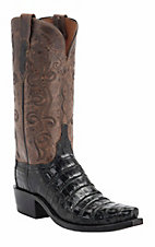 Lucchese 1883 Women's Black Crocodile Tail Snip Toe Western Boots