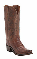 Lucchese 1883 Women's Cognac Burnished Crocodile Tail Snip Toe Western Boots