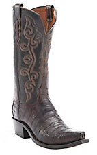 Lucchese 1883 Women's Barrel Brown Crocodile Tail Snip Toe Western Boots
