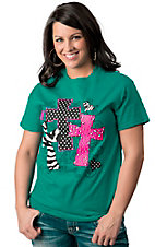 Cattilac Style® Women's Teal with Neon Pink and Black Three Crosses Short Sleeve Tee