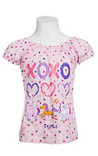 Kid-U-Not® Girls Light Pink Polka Dot Horse with Hug & Kisses Short Sleeve Tee