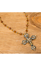 Wear N.E. Wear® Topaz & Amber Crystal Cross Necklace