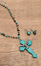 Wear N.E. Wear® Turquoise and Brown Longhorn and Cross Pendant Necklace Jewelry Set