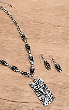 Wear N.E. Wear® Silver and Black Longhorn Engraved Necklace Jewelry Set