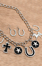 Wear N.E. Wear® Silver Western Charms with Black Hide & Rhinestones Necklace and Earrings Jewelry Set