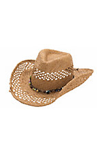 Dorfman Pacific® Raffia Vent w/ Multicolor Beaded Hatband Straw Cowboy Hat