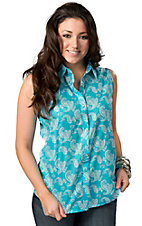 Wrangler® Women's Turquoise with Green Paisley Print Sleeveless Western Shirt