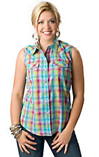 Wrangler® Women's Turquoise, Lime Green and Pink with Lurex Sleeveless Western Shirt