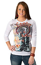 R. Rouge® Women's White Cowboy and Boots Long Sleeve Tee