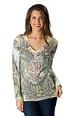 R. Rouge® Ladies Green Winged Rose Embellished V-Neck Long Sleeve Tee