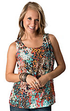 Olive & Oak® Women's Aqua Multi Print Sleeveless Fashion Top