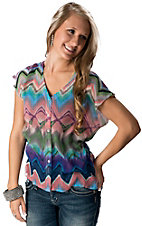 Olive & Oak® Women's Women's Multi Color Aztec Chiffon Short Sleeve Fashion Top