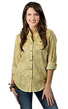 Wrangler® Women's Lime Green and Brown Paisley Print Long Sleeve Western Shirt
