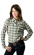 Wrangler® Women's Turquoise and Brown Plaid with Copper Studs Long Sleeves Western Shirt