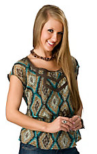 Wrangler® Women's Turquoise and Brown with Gold and Crochet Trim Short Sleeve Fashion Top
