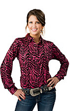 Wrangler® Women's Pink and Black Zebra with Sequins Long Performance Sleeve Western Shirt