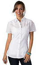 Wrangler® Womens White Eyelet Short Sleeve Western Shirt