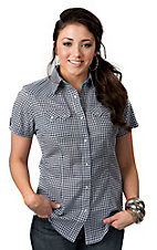 Wrangler® Women's Navy and White Gingham Plaid Short Sleeve Western Shirt