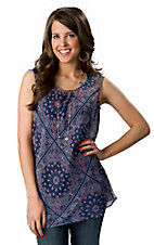 Wrangler® Womens Blue with Red and White Bandana Print Sleeveless Chiffon Tank Fashion Top