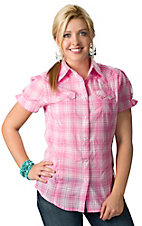 Wrangler® Women's Pink and White Plaid with Metallic Stripes Short Sleeves Western Shirt