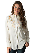 Wrangler Women's Natural with Floral Embroidery Long Sleeve Western Shirt