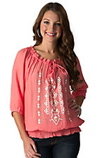 Wrangler Women's Coral with Aztec Print 3/4 Sleeve Peasant Top