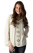 Wrangler Women's Vanilla with Brass Stud Aztec Design Long Sleeve Tunic