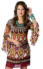 Wrangler® Women's Brown, Pink and Purple Southwest Print 3/4 Sleeve Dress