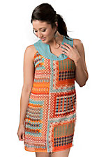 Wrangler® Women's Turquoise and Orange Navajo Print with Beads Sleeveless Dress