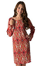 Wrangler Women's Rust & Cream Aztec Print Long Sleeve Chiffon Dress