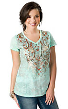 Wrangler® Women's Mint with Orange and Gold Paisley Print Short Sleeve Burnout Tee