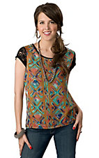 Wrangler® Womens Black with Gold and Turquoise Aztec Design and Lace Short Sleeves Fashion Top